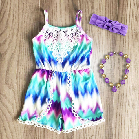 Teal Pastel Tie Dye Romper bow and necklace set