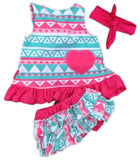 Teal Pink Aztec Two Piece
