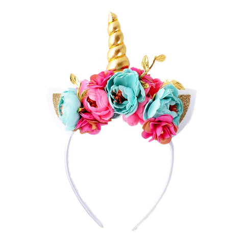 Teal Pink Gold Flowers Unicorn Headband
