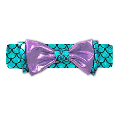Teal Purple Mermaid Satin Headband Messy Bow