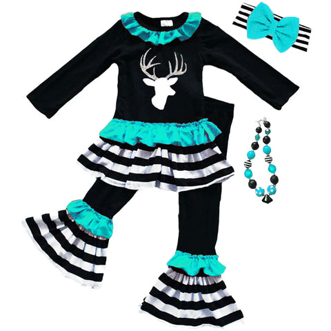 Teal Silver Deer Outfit Black Stripe Ruffle Top And Pants