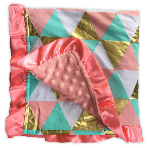 Teal White Gold Triangles Pink Minky Blanket