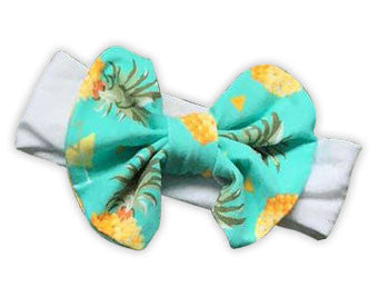 Teal White Pineapple Messy Bow Headband