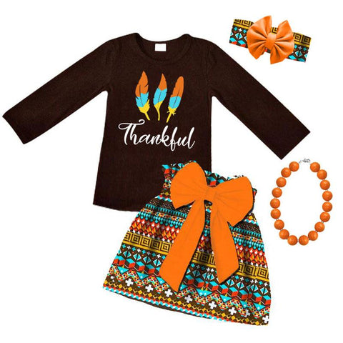 Thankful Aztec Outfit Feather Orange Bow Top And Skirt