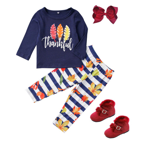 Thankful Fall Leaves Outfit Blue Stripe Top And Pants