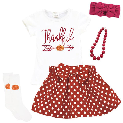 Thankful Pumpkin Outfit Burgandy Polka Dot Top And Skirt