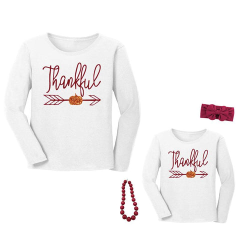 Thankful Pumpkin Shirt Burgandy Mommy And Me