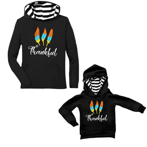 Thankful Stripe Hoodie Black Mommy Me