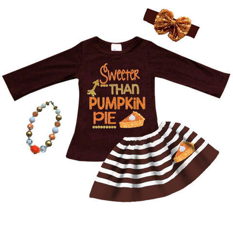 Thanksgiving Pie Outfit Brown Stripe Top And Skirt