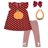 Thanksgiving Pumpkin Outfit Burgandy Stripe Polka Dot Top And Pants