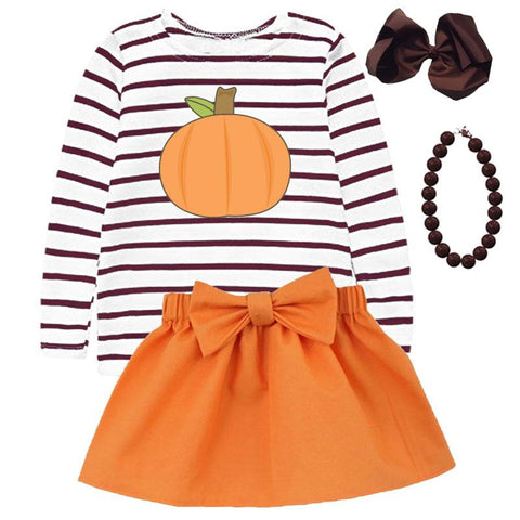 Thanksgiving Pumpkin Stripe Outfit Brown Orange Top And Skirt
