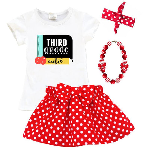 Third Grade Cutie Outfit Red Polka Dot Top And Skirt