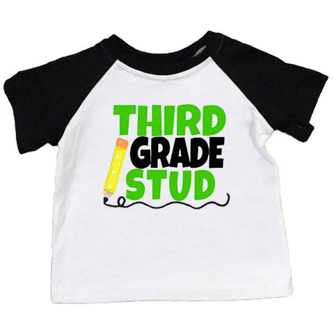 Third Grade Stud Shirt Black Raglan Boy