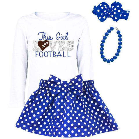 This Girl Loves Football Shirt Blue Silver