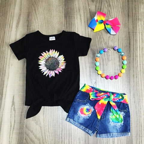 Tie Dye Flower Rainbow Denim Tie Shorts Top Necklace And Hair Bow Set