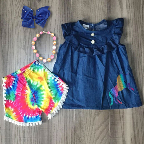 Tie Dye Rainbow Denim Button Top And Pom Shorts Necklace And Bow Set