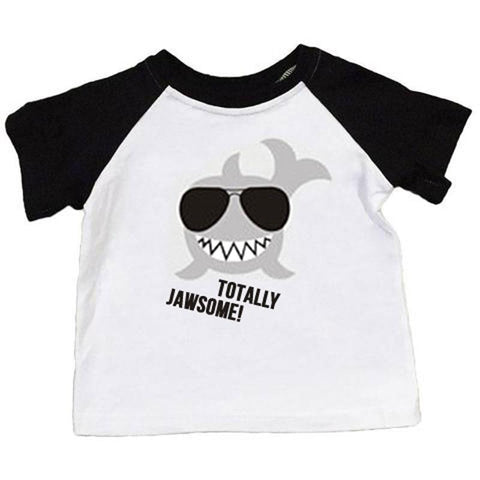 Totally Jawsome Shirt Shark Black Raglan Boy
