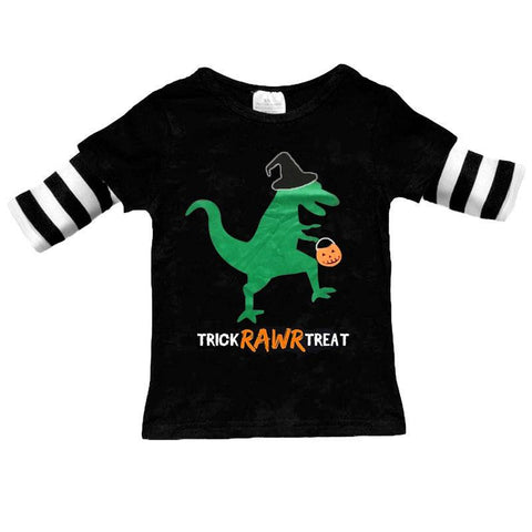 Trick Rawr Treat Shirt Black Stripe Boy