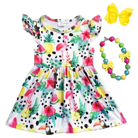 Tropical Flamingo Pineapple Dress Tucan Ruffle