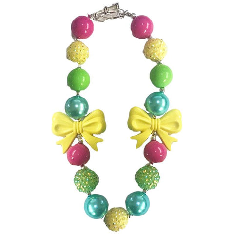 Tropical Necklace Yellow Bow Sparkle Chunky Gumball