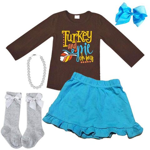 Turkey And Pie Outfit Brown Top And Skirt