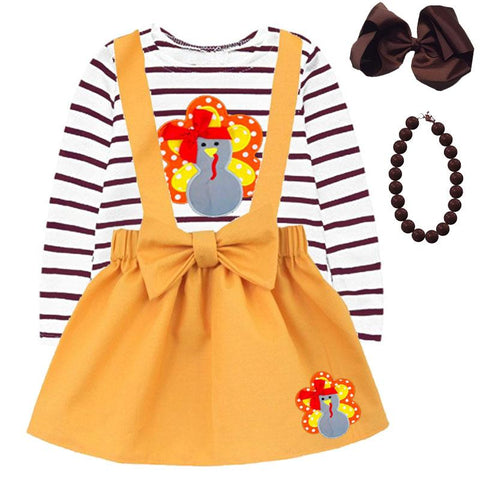 Turkey Bow Stripe Outfit Brown Mustard Top And Jumper