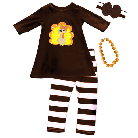 Turkey Brown Stripe Outfit Polka Dot Top And Pants