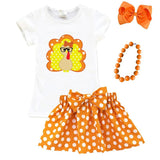 Turkey Glasses Outfit Polka Dot Orange White