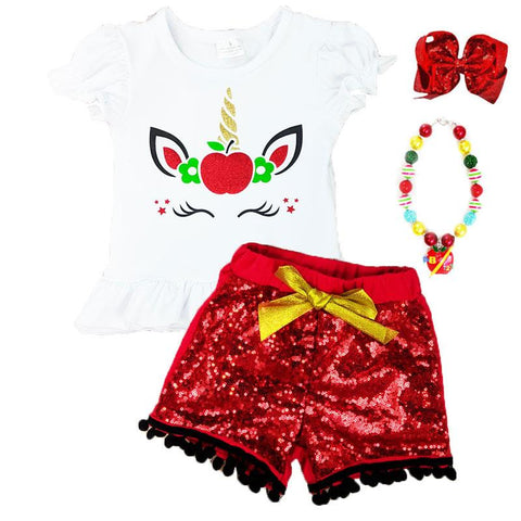Unicorn Apple Outfit Red Sequin Top And Shorts