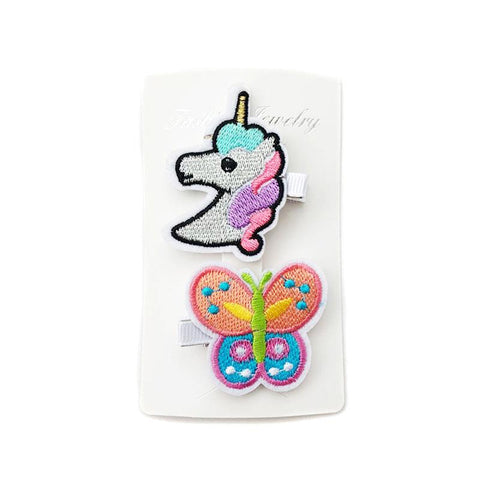Unicorn Butterfly Hair Clips 2 Pc