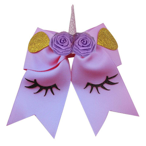 Unicorn Hair Bow Purple Flower Gold