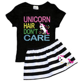 Unicorn Hair Dont Care Outfit Black Stripe Top And Skirt