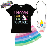 Unicorn Hair Dont Care Outfit Pastel Sparkle Top And Skirt