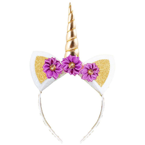 Unicorn Headband Gold Sparkle Purple Flowers