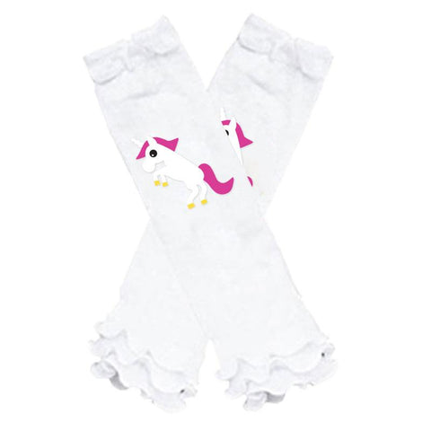 Unicorn Hearts Leg Warmers White