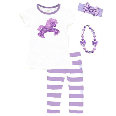Unicorn Lavender Outfit Stripe Purple Top And Pants