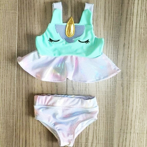 Unicorn Mint Pastel Rainbow Ruffle Swim Suit Bikini