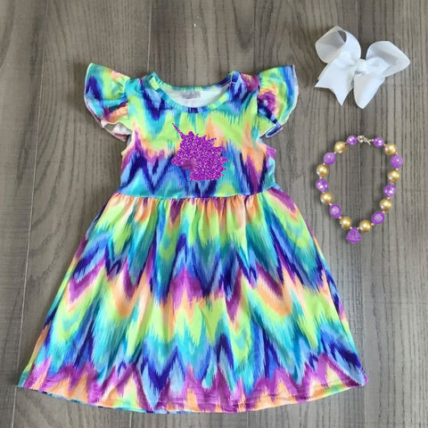 Unicorn Pastel Rainbow Tie Dye Flutter Dress Necklace And Hair Bow Set