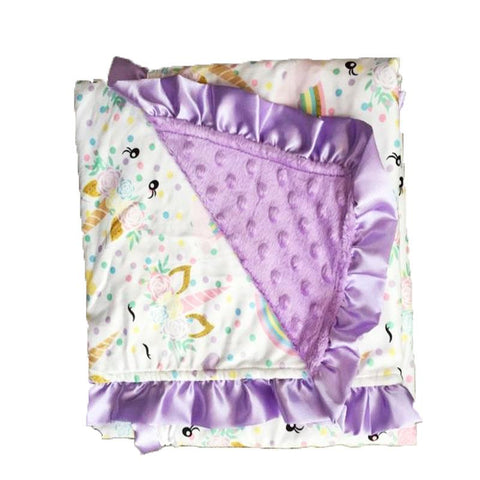 Unicorn Polka Dot Purple Minky Blanket