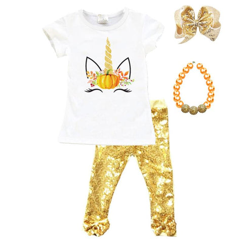 Unicorn Pumpkin Outfit Gold Sequin Top And Pants
