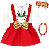 Unicorn Reindeer Outfit Red Top And Jumper Gold Sequin Bow