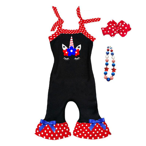 Unicorn Romper Flowers Black Red Polka Dot