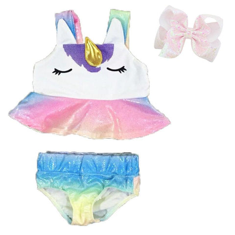 Unicorn Swimsuit Rainbow Gold Two Piece