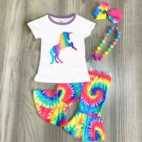 Unicorn Tie Dye Top Bell Bottom Capri Necklace And Hair Bow Set