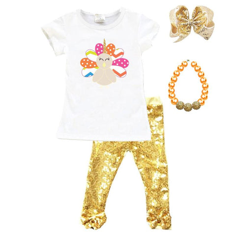 Unicorn Turkey Outfit Gold Sequin Top And Pants