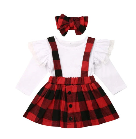 Red Buffalo Button Plaid White Ruffle top and Jumper skirt