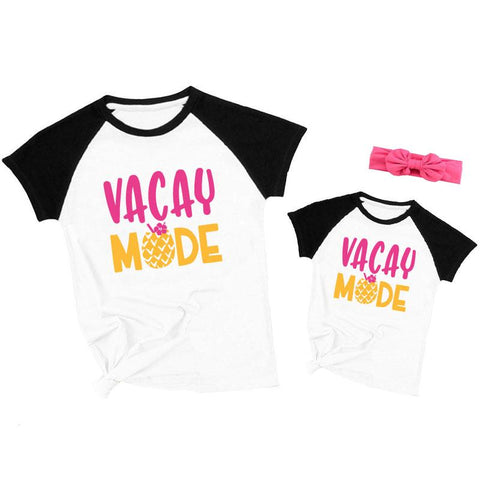 Vacay Mode Pineapple Shirt Black Raglan Mommy And Me