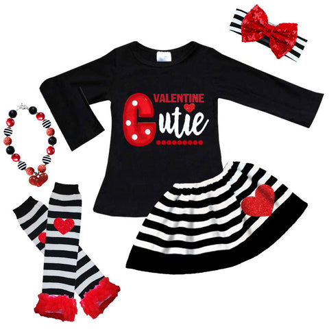 Valentine Cutie Outfit Black Stripe Top And Skirt