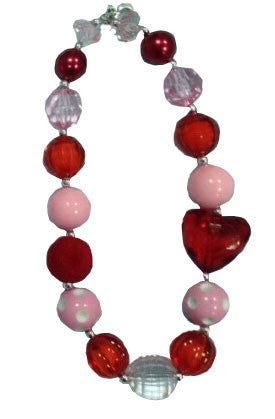 Red - White - Pink Heart Gumball Necklace