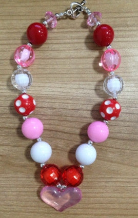 Valentine's Day Sparkle Heart Gumball Necklace